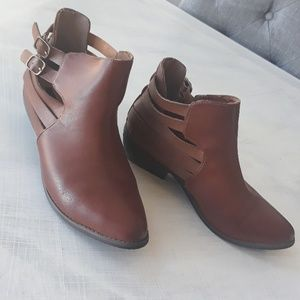 Chic brown strappy cutout booties 7.5
